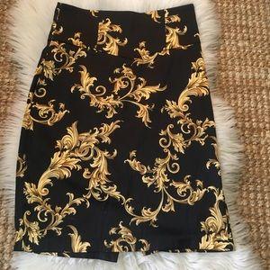 XXI Pencil skirt Black & Gold Royal Jacquard Med